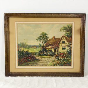 Vintage Framed Picture Country Cottage